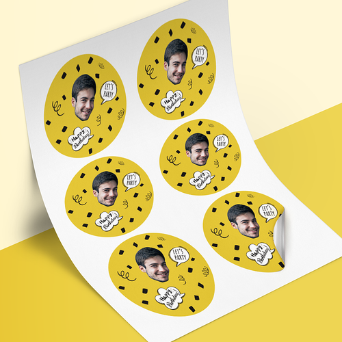 Custom Face Stickers - Birthday Comic Balloons (3.3 in. diameter)