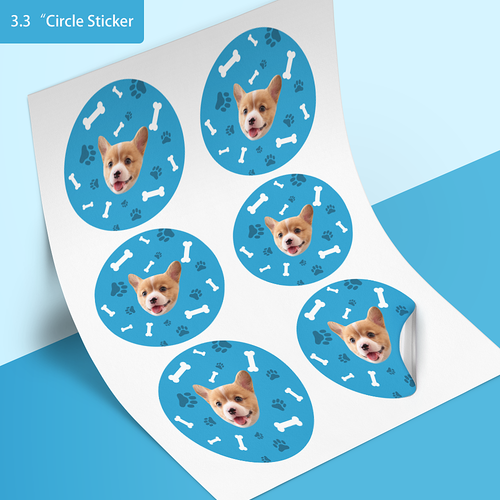 Custom Face Stickers - Dog (3.3 in. diameter)