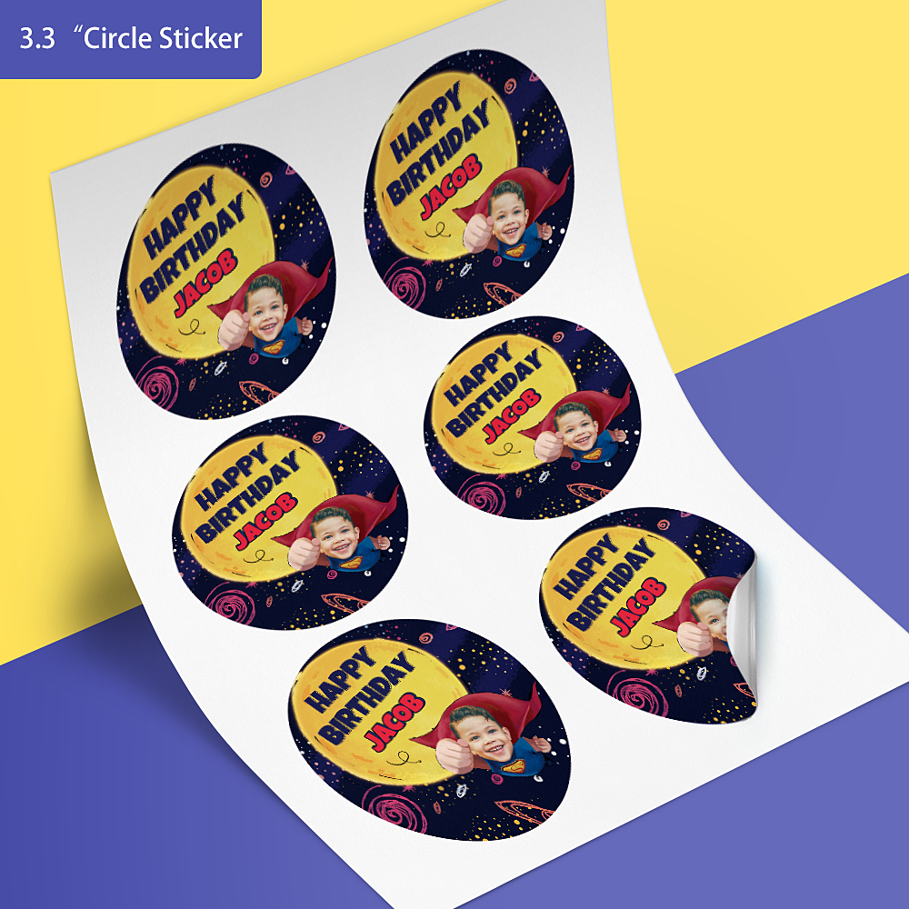 Custom Face Stickers - Superhero (3.3 in. diameter)