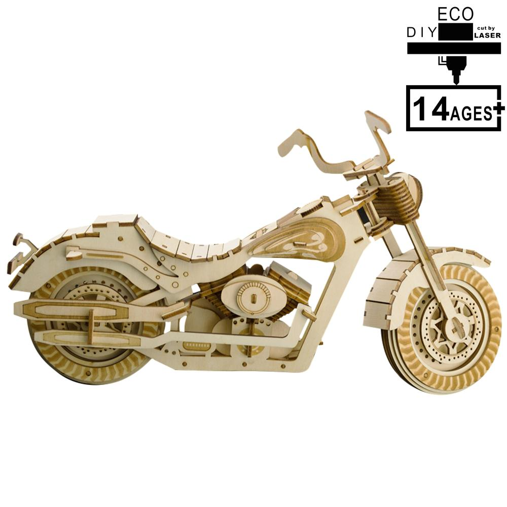 Wooden 3D Puzzle Indoor Gifts Stay-at-home Gifts For Children - Motorcycle HD I