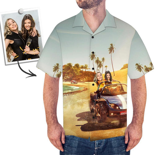 Custom Face Hawaiian Shirt Men's All Over Print Shirt - myfacegiftwrap