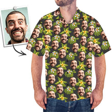 Custom Face Men's Hawaiian Shirt Green Flowers - myfacegiftwrap