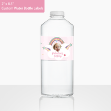 Custom Face Water Bottle Labels-Rainbows & Unicorns (2 in.x 8.5 in.)