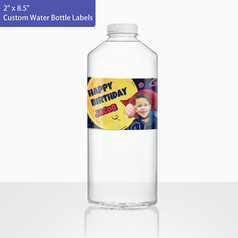 Custom Face Water Bottle Labels-Superhero (2 in.x 8.5 in.)