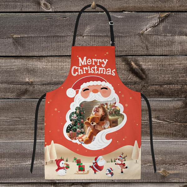 Custom Photo Kitchen Apron-Santa Heart