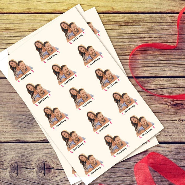 Custom Couple Photo Tattoo Stickers Personalized Text Temporary Tattoo Stickers Birthday