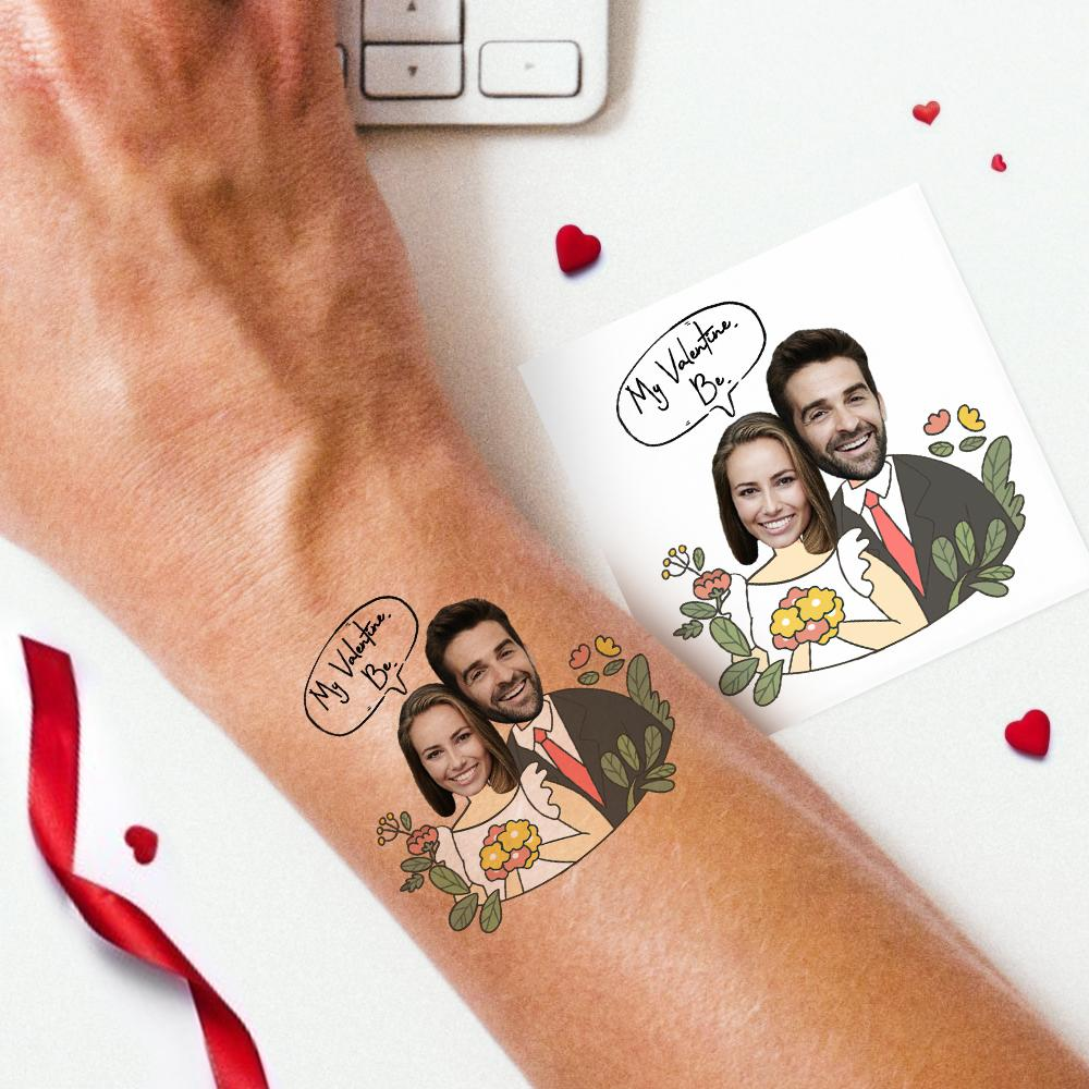 Custom Couple Photo Tattoo Stickers- My Birthday
