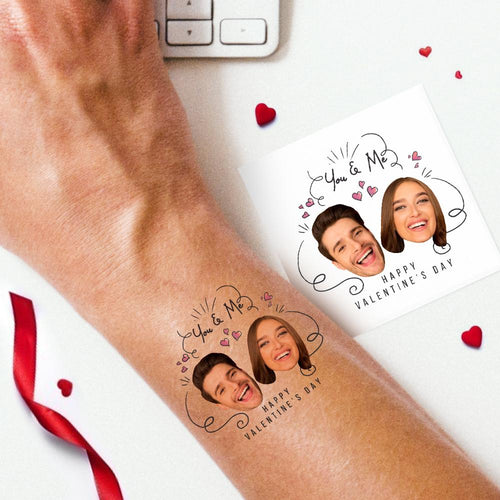 Custom Cute Couple Photo Tattoo Stickers