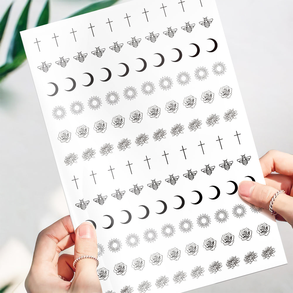 Temporary Tattoo Stickers-Sun And Cross Tattoo Stickers