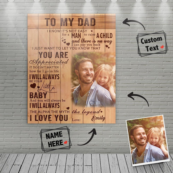 Custom Photo Wall Art Decor Painting Canvas With Text - To My Dad