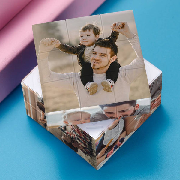 Custom Multi Photo Rubik's Cube - Happy Time With Family