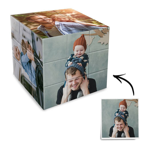 Custom Multi Photo Rubik's Cube - For Father And Children