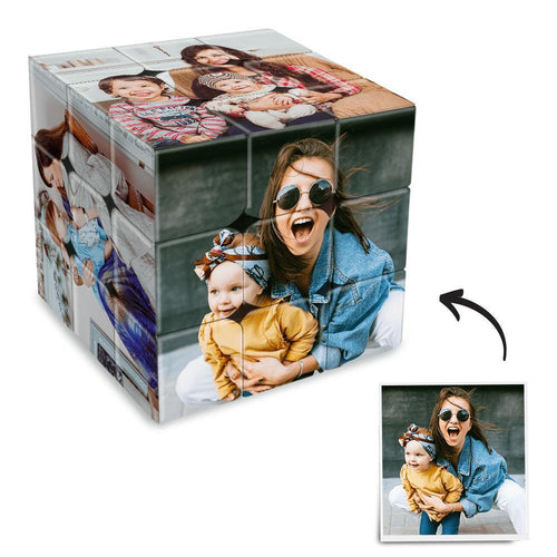 Custom Multi Photo Rubik's Cube - For Mother And Baby
