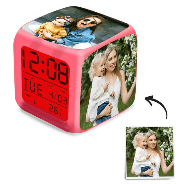 Multiphoto Alarm Clock Home Decoration Multiphoto Colorful Lights Mother's Gifts