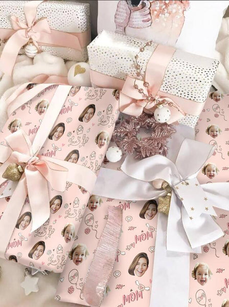 Custom Face Gift Wrap-I Love Mom