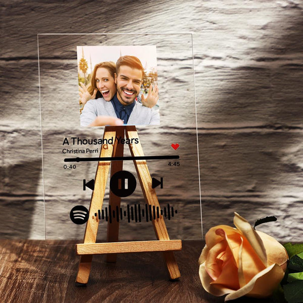 Spotify Glass Custom Photo Scannable Music Plaque With Wooden Stand
