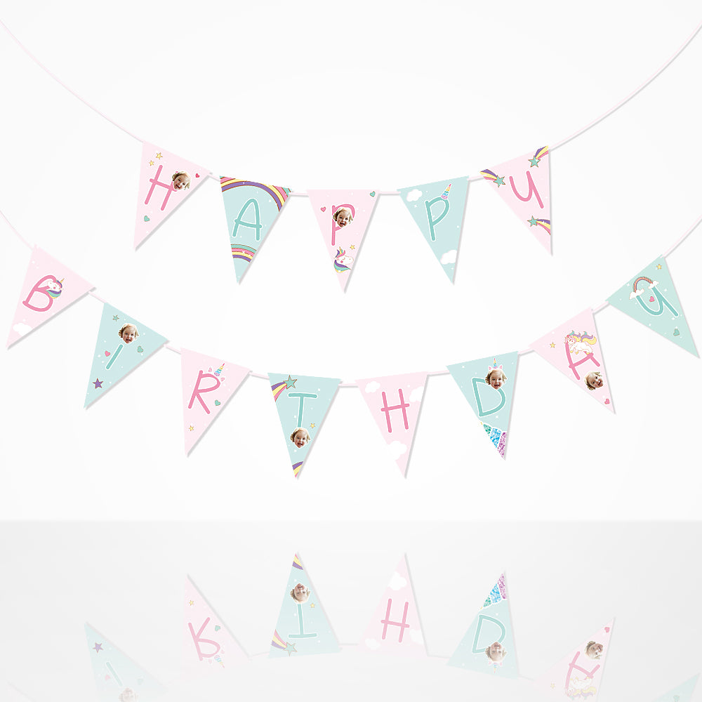 Custom Happy B-day Banner Flag-Rainbows & Unicorns