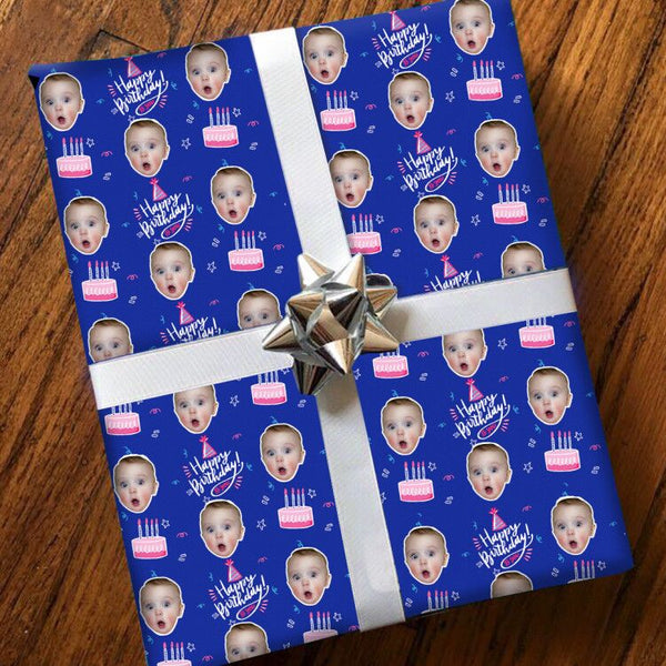Custom Face Gift Wrap-Birthday Cake