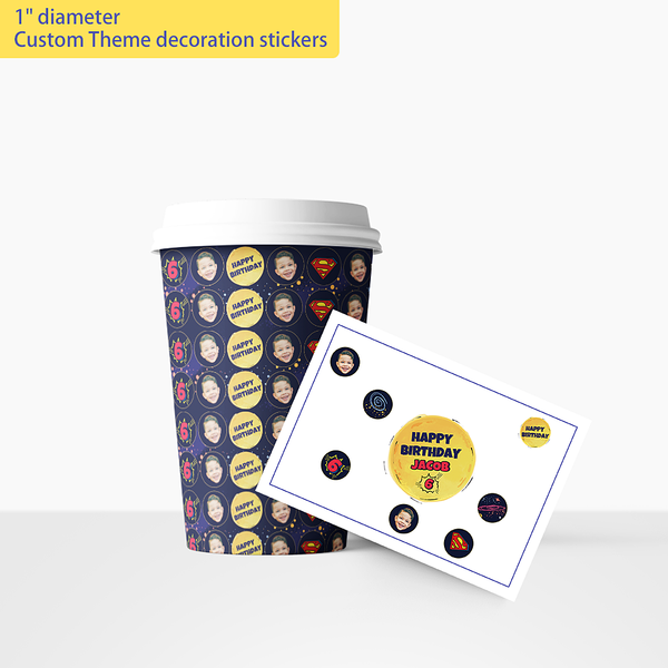 Custom Theme decoration stickers (1in. diameter)-Superhero