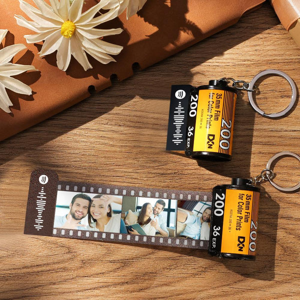 Spotify Code Scannable Personal Film Roll Keychain 5-20 Pictures Yellow Shell Birthday Best Gifts for Her