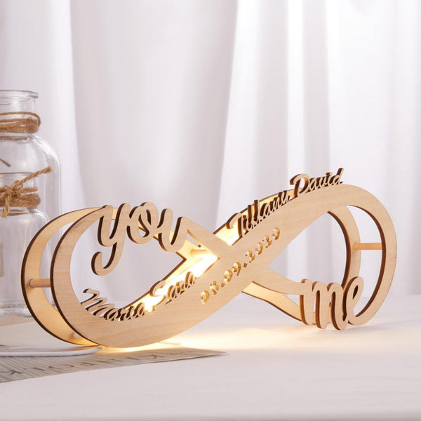 Birthday Gifts Custom Lamp Engraved Wood Nightlight Personalized Name Light Infinity Love Gift for Her