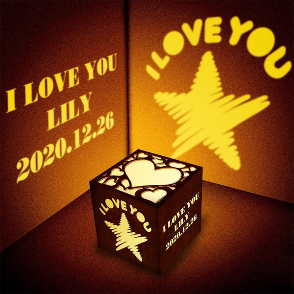 Customized Woodcut Projection Lamp Night Light Birthday Gift For Double Heart