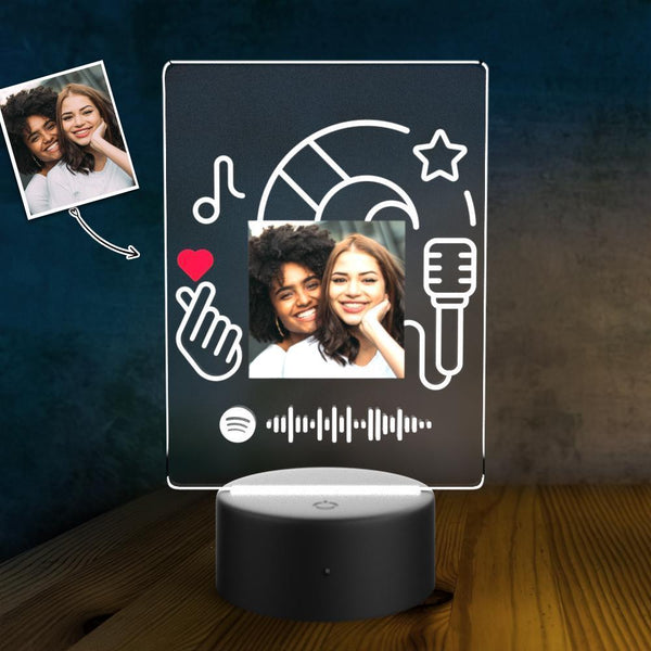SPOTIFY CODE Acrylic 3D Lamp Plaque Set Personalized Night Light Valentine's Present