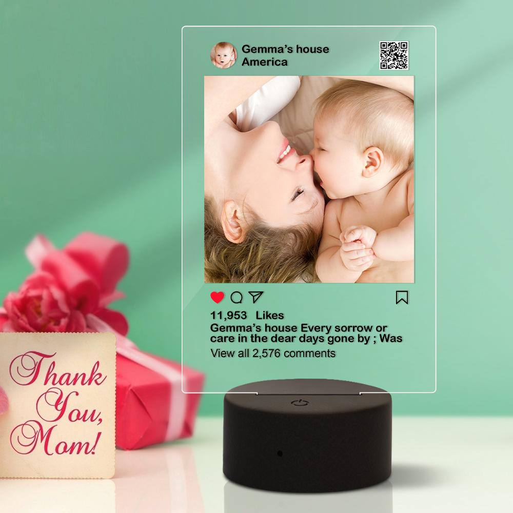 Personalised Instagram Style 3D Led Lamp Gift for Her Night Light as Gift for Him