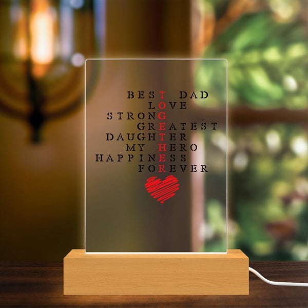 Fathers Day Gift Sign Acrylic Lamp Custom Plaque Light Decor Wooden stand