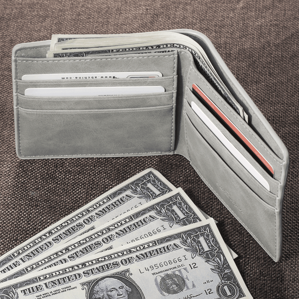 Men's Biffold Short Custom Photo Wallet - Light Grey