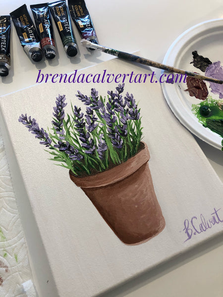 Lavender in a Terra Cotta Pot, Free Art Lesson!