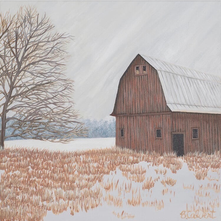Winter Country Scene, Snow Barn, Flat Print / Free U.S. Shipping!*