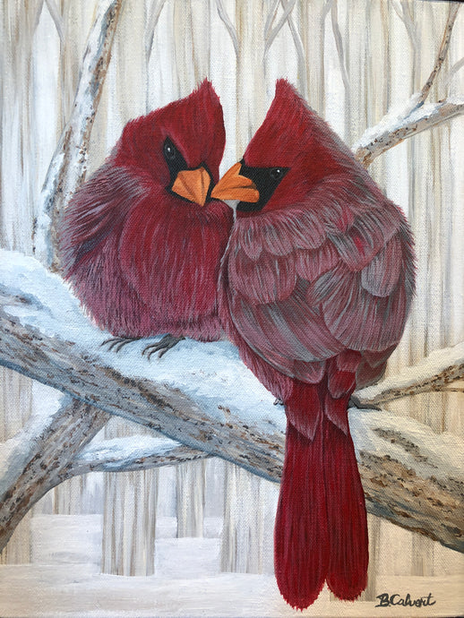 Cardinal Painting, Cardinals in the snow, Shelf Sitter/ Free U.S. Shipping!*