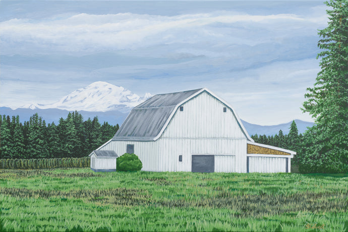 White Barn with Mt. Baker, Whatcom County, Prints / Free U.S. Shipping!*