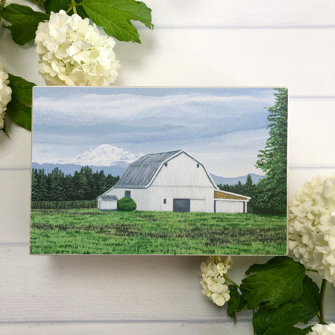 White Barn with Mt. Baker, Whatcom County, Shelf Sitter/ Free U.S. Shipping!*