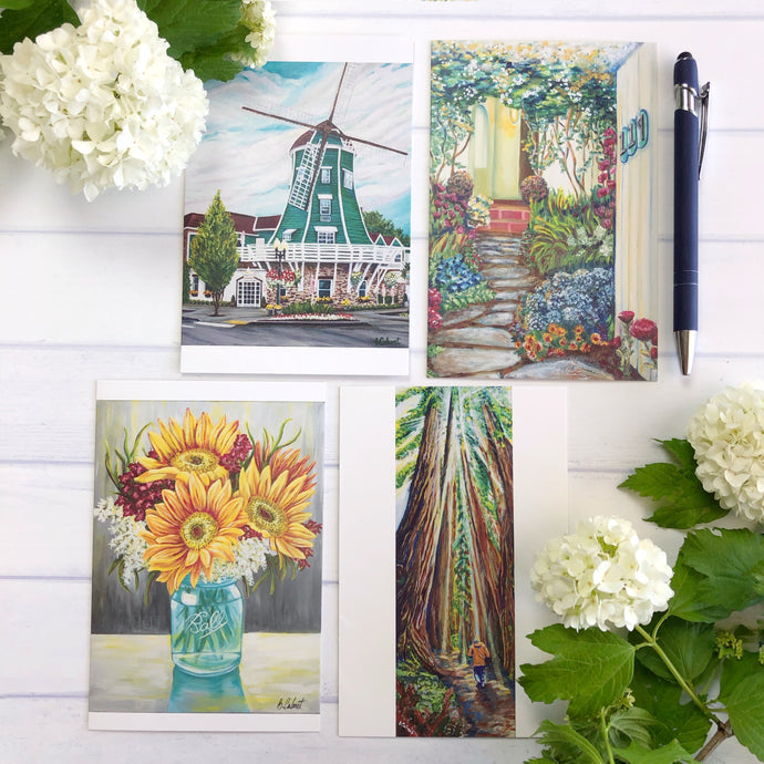 Art Greeting Cards, Blank inside card, 4 card set