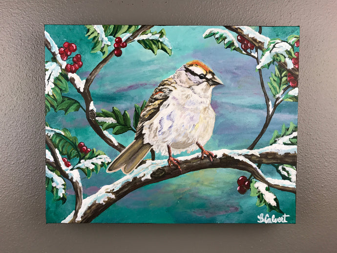 Art Print Bird in the snow, His eye is on the sparrow