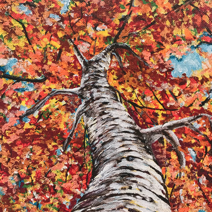 Art Print of Fall Perspective Tree Painting, Home Decor