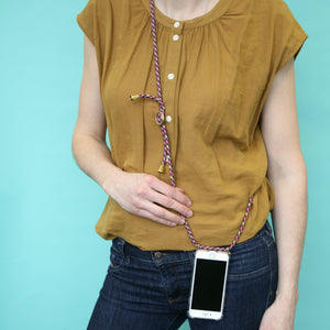 Phone necklace / berry chocolate