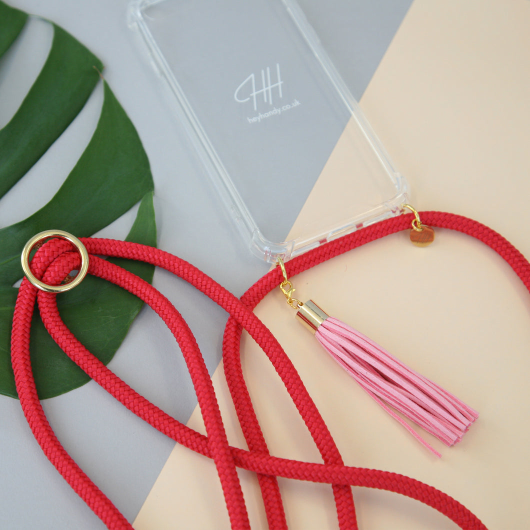 Phone necklace / fire red