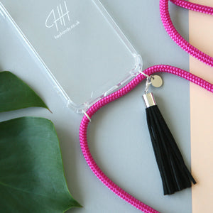 Phone necklace / hot pink