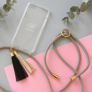 Phone necklace / gold sand