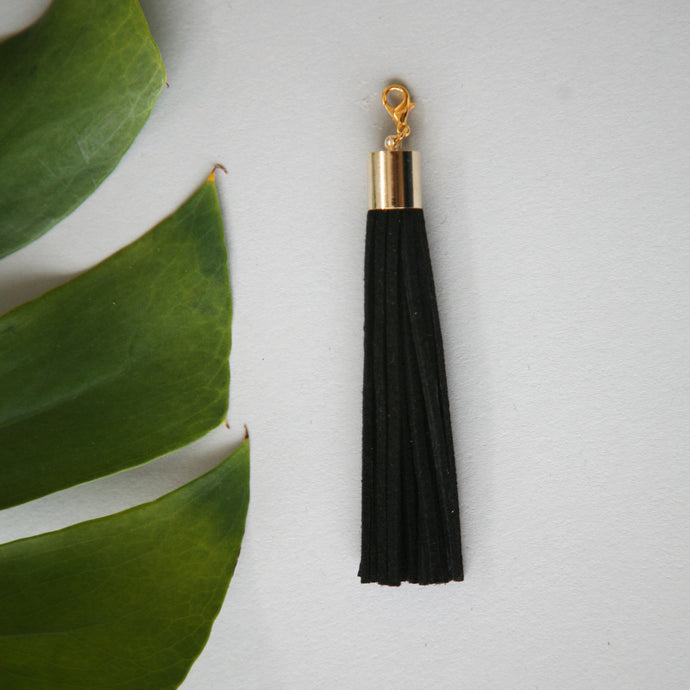 Leather tassel / black