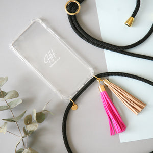 Leather tassel / pink