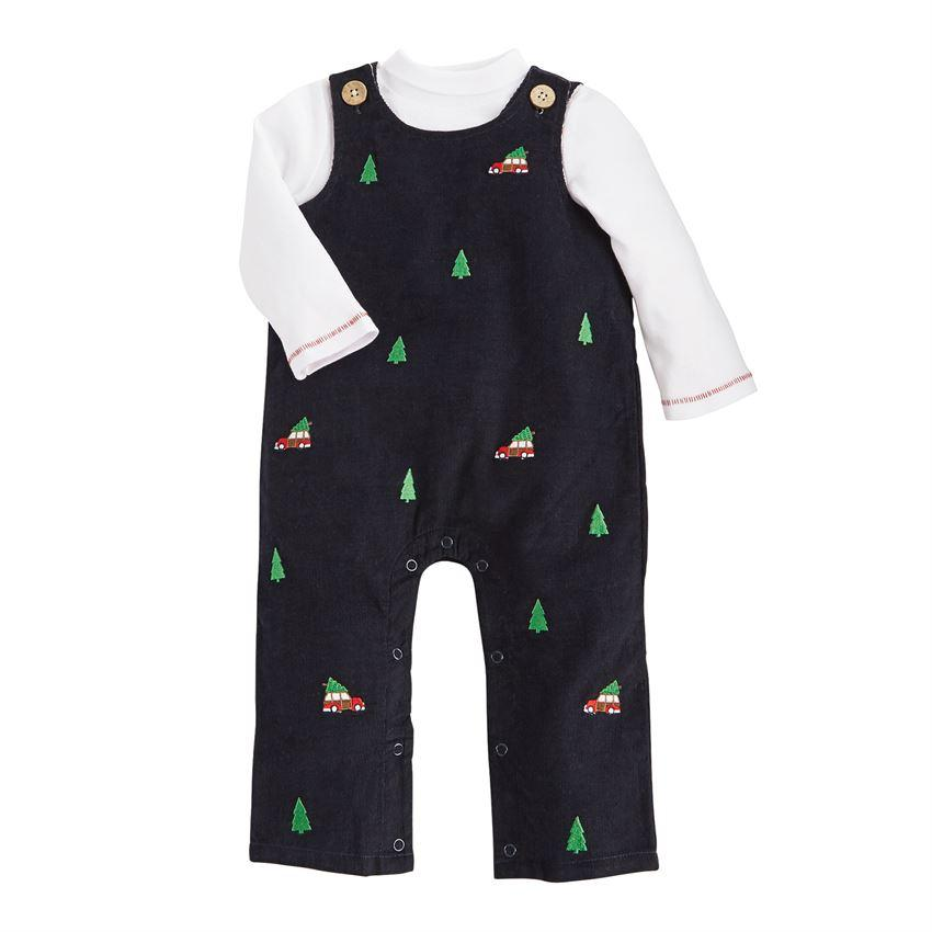 Boys Christmas Corduroy Overalls Set