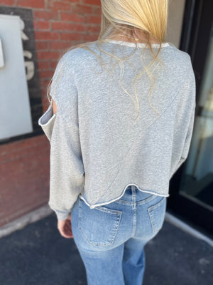 Oversized Cut Shoulder Sweatshirt