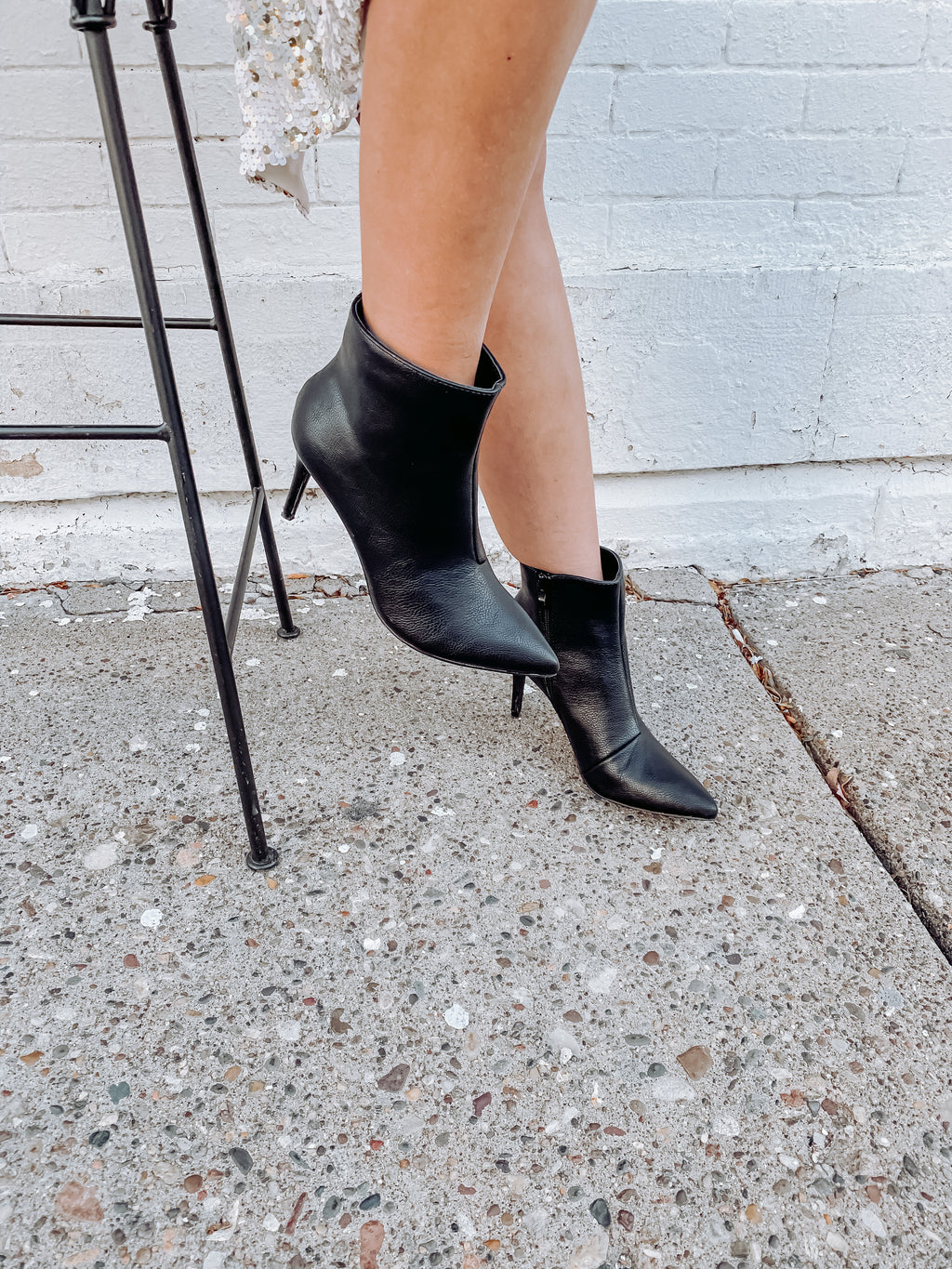 Black Faux Leather Ankle Bootie