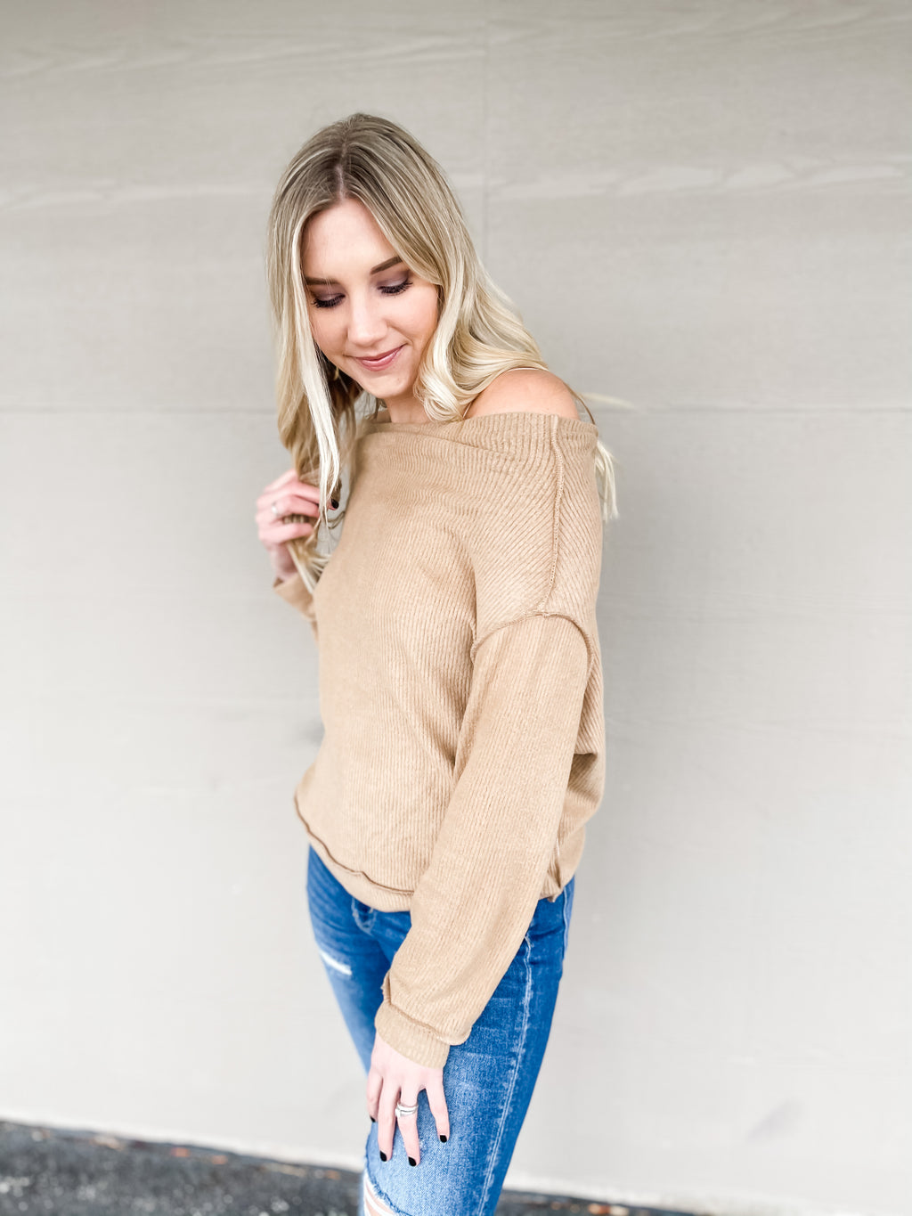 Off the Shoulder Brushed Knit Top