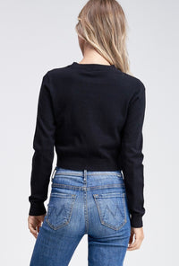 Long Sleeve Top with Knotted Front - Black