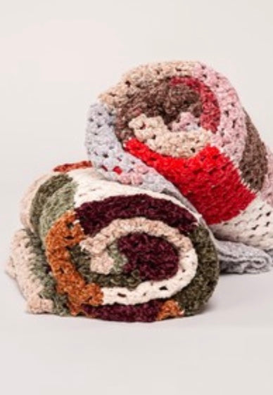 Hand made Color Block Chenille Knitted Scarf - Dusty Red